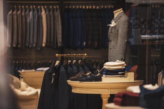 luxury store with men clothing.