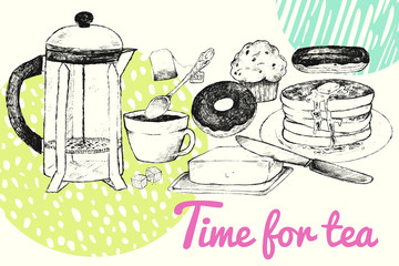 "Vector illustration of breakfast. Tea, pancakes, pastries, butter on the table. The poster for cafes, restaurants, brochures, menus, grocery stores. The inscription ""Time for Tea"""