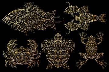 Set of animals fish, lobster, crab, sea turtle, frog.