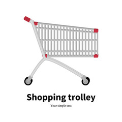 Vector illustration metal empty shopping trolley