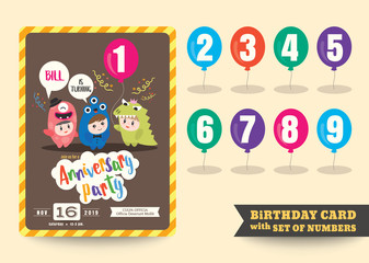 one year anniversary kids birthday celebration background with children cartoon in costume and numbers template