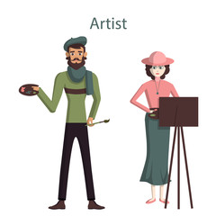 Isolated professional artists. Male and female artists or painters standing on white background. Easel with palette and paint brush.