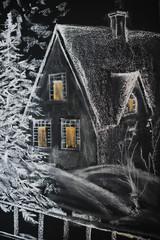 Chalkboard with painted winter village scene, season specific