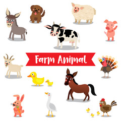 Farm Animal cartoon on white background. Goat. Chicken. Chick. Goose. Donkey. Sheep. Horse. Duck. Rabbit. Pig. Dog. Cow. Turkey. Vector illustration.
