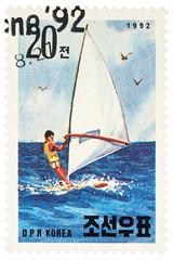 Windsurfer on postage stamp