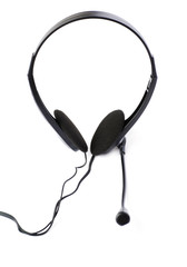 Black computer headset with a microphone isolated over white background