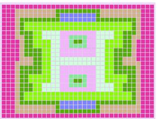 Montagem de quadrados com centro em forma de H verde
