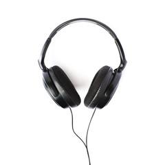 Black headphones isolated over white background