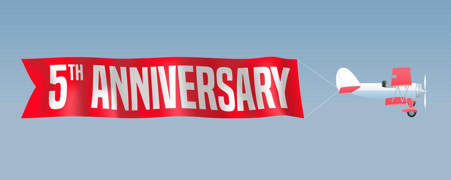 5 years anniversary vector illustration, banner, flyer