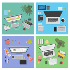 Desk top view set. Different tables and interiors.
