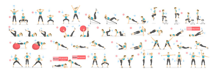 Workout girl set. Woman doing fitness and yoga exercises. Lunges and squats, plank and abc. Full body workout. Wall mural