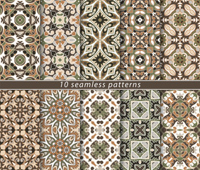 Set of ten seamless abstract patterns.