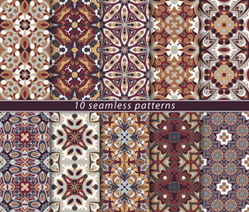 Set of ten seamless abstract patterns.