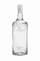 Watercolor alcohol bottle on white background. Alcohol beverage. Drink for restaurant or pub. Vodka.