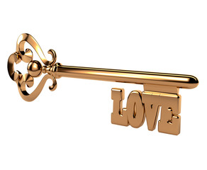 Abstract 3D golden key with the word LOVE on white background. I