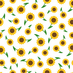 Seamless pattern background with sunflowers