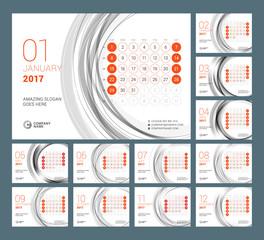 Calendar Template for 2017 Year. Vector Illustration. Week Starts on Sunday