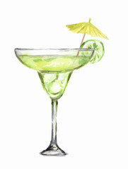 Isolated watercolor cocktail. Isolated glass with alcohol drink on white background. Umbrella and lime.