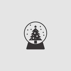 Snow ball Christmas tree vector icon illustration