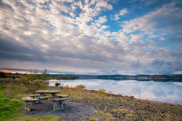 Kielder Reservoir Picnic, in Kielder Water and Forest Park, Northumberland, which has the largest man made lake in Northern Europe. The reservoir sits in the North Tyne Valley