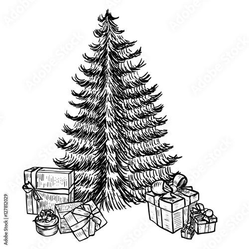 Drawing Christmas Tree Sketch.Hand Drawn Sketch Christmas Tree And Gifts Stock Image And