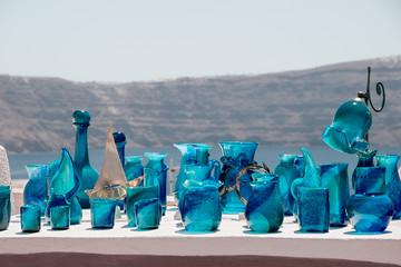 Handmade decorative blue glassware