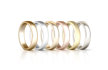 Different precious metals rings set stand isolated, golden, silver, pink, 3d rendering