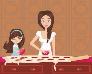 Happy daughter helping her mother bake cookies