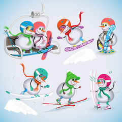 Set of seven snowman on a ski vacation. Snowmen rise to the ski lifts, skiing, snowboarding. Winter fun. Vector illustration.
