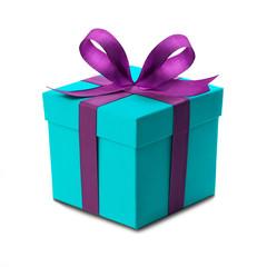 Weihnachtsgeschenk mit Schleife als Freisteller