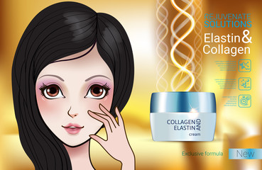 Vector Illustration with Manga style girl and collagen cream
