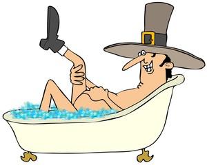 Illustration of a pilgrim man in a bathtub full of bubbles and raising his leg.