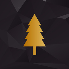 New year tree sign. Golden style on background with polygons.