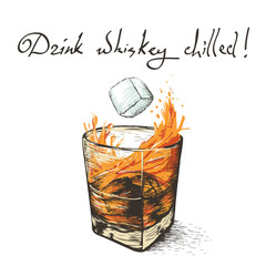 ice falls in whiskey