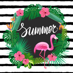 Template with tropic plants, exotic flowers and pink flamingo.
