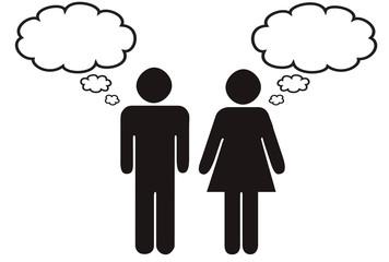 Mann und Frau mit Gedankenblase