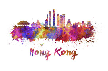 Wall Mural - Hong Kong V2 skyline in watercolor