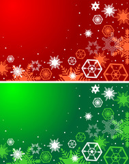 Winter red and green backgrounds. Christmas background with snow