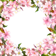 Pink flowers - apple, cherry blossom. Floral frame. Watercolour