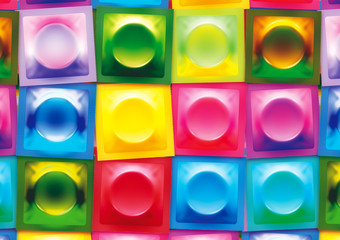 Bright Multicoloured 3D Condom Wrapper Background