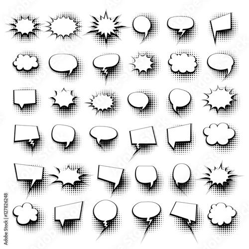Big set 36 blank effects template comic speech bubbles halftone ...