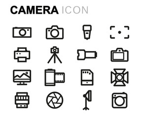Vector line camera icons set