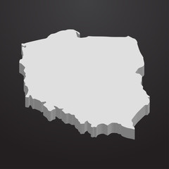 Poland map in gray on a black background 3d