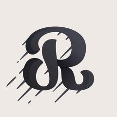 R letter logo. Fast speed vector script type.