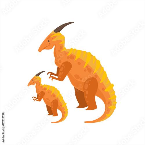 Parasaurolophus Dinosaur Prehistoric Monster Couple Of Similar Specimen Big And Small Cartoon Vector Illustration