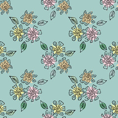 Seamless vector hand drawn seamless floral  pattern. Blue  Background with flowers, leaves. Decorative graphic vector drawn illustration. Line drawing with splash, blots