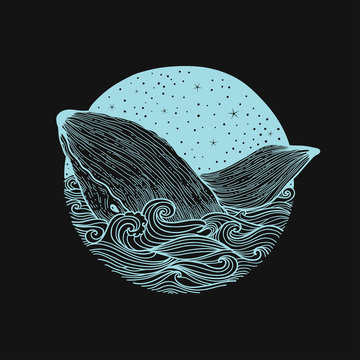 Whale jumping out of the waves on a night starry sky and curl waves background with doodle zentangle elements,design for clothing print, cards,invitations,printing cover.isolated on white background