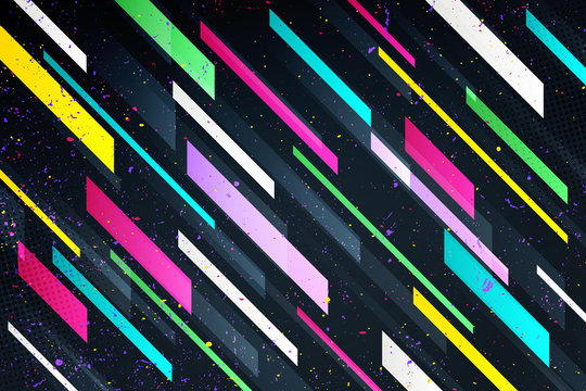 abstract colorful stripes over black background. vector geometric, vivid wallpaper template. cool design backdrop. bright frame, vector business cards layout