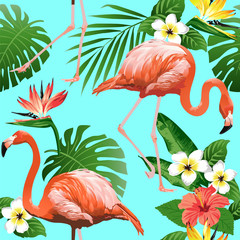 Flamingo Bird and Tropical Flowers Background - Seamless pattern vector.