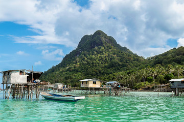 Gypsy town of the sea, in the national park Tun Sakaran, Borneo